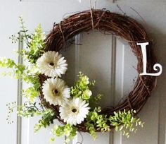 Summer Wreath, White Gerbera Flowers Wreath,Every Day Wreath,Monogrammed Wreath, Simple Wreaths