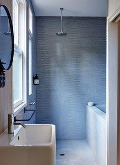 powder blue + white bathroom
