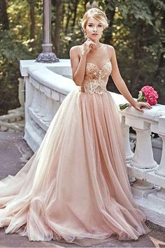 New Style Pink Sweetheart Prom Dress Tulle Evening