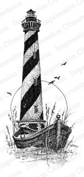 Impression Obsession Stamp - Hatteras with boat