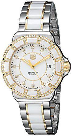 #braceletwatch #ceramicwatches #diamondwatch #diamondwatchesforwomen #mensceramicwatches #whiteceramicwatch TAG Heuer Women's WAH1221.BB0865 Formula 1 Two-Tone Bracelet Watch with White Ceramic and Diamonds Check https://www.carrywatches.com