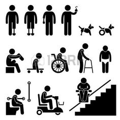 handicaps: Handicap Amputado Desactivar gente hombre Tool Equipment Stick Figure Icono Pictograma
