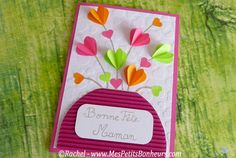 bricolage carte bonne fete maman Mothers Day Crafts, Mother Day Gifts, Crafts For Kids, Arts And Crafts, Valentine Boxes For School, Paper Crafts, Diy Crafts, Punch Art, Creative Cards