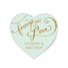 Envelope Seals Script Forever in Love Gold Glitter Heart Sticker