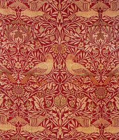cravingdesires: design-is-fine: William Morris, Birdwoven textile design, The fabric proved both popular with the general public as. William Morris Wallpaper, William Morris Art, Morris Wallpapers, William Morris Patterns, Tapestry Design, Textile Design, Fabric Wallpaper, Of Wallpaper, Art Nouveau