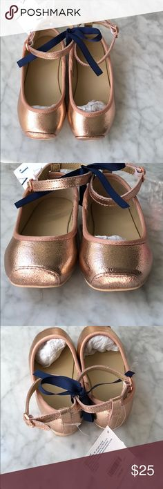 Janie and jack rose hold flats Darling rose gold flat with ankle strap Janie and Jack Shoes Dress Shoes