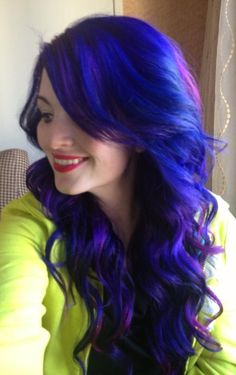 purple and blue hair, I love the length and style.