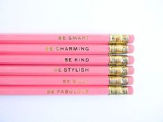 Wear Sequins to Breakfast Pencils Pink by AmandaCatherineDes