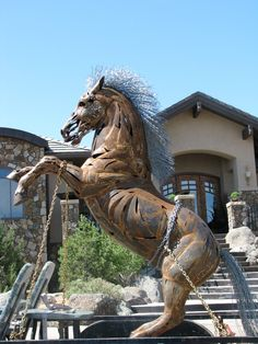 """Rusty"" Rearing Horse Sculpture"