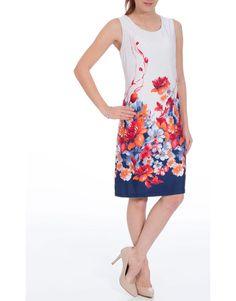 Floral Border Printed Sleeveless Midi Dress