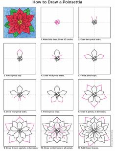 How to draw a Poinsettia. PDF tutorial available. #poinsettia #howtodraw #artprojectsforkids