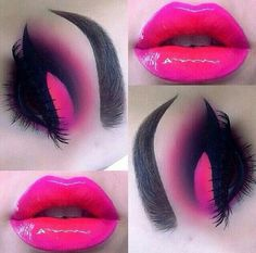 Pink and red ombre lips