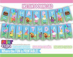 FREE when you purchase your party kit... Banner Triangular PEPPA PIG y sus amigos Banderillas por Printnfun, €5.00 #peppapig #peppapigbanner