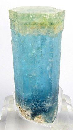 Beryl var. Aquamarine with Heliodor tip sceptre crystal / Erongo Mountain, Namibia by monica