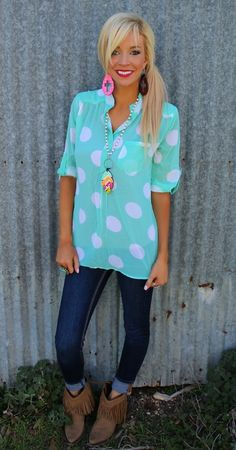 Mint and White Polka Dot Tunic - The Lace Cactus