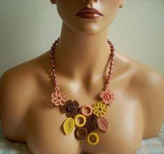 Bridesmaids Turkish Oya golden browm gul kurusu Crochet Necklace bead neck on Etsy, $35.00
