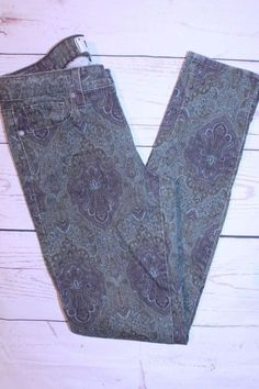 PAIGE Denim Company Pants 27 Estate Green Paisley Verdugo Ultra Skinny Jeans  #PAIGE #SlimSkinny