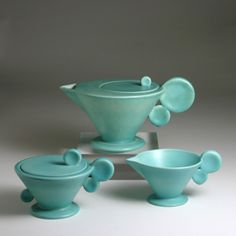 Margarete Heymann-Marks Beautiful classic and art deco and modern at the same time, turquoise coffee serving set. Sugar Bowl, Art Nouveau, Vases, Teapots And Cups, Art Deco Design, Funky Design, Chocolate Pots, Art Deco Fashion, Pottery Art