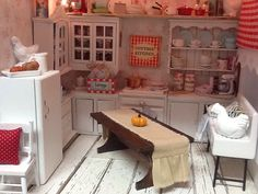 Miniature Farmhouse Table Pumpkin and Runner by DebbieCalif, $20.00