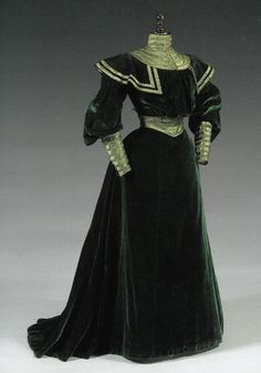 ~Day dress, ca. 1890s~ Love this dress, wish we still wore these.
