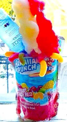 Hawaiian Punch Fun Box Cocktail ~ made with Hawaiian Punch Juice, Strawberry Daiquiri Mix, Strawberry Rum, 100 Proof vodka, Ice, Lemonade, Pina Colada Mix, and Rum!
