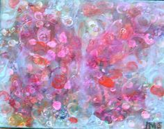 """For Sale 16"""" X 12""""  Layered Acrylic Painting on canvas by Lisa Doffing """"With Wings Wide Open"""""""