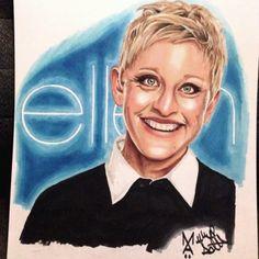 Coloring a Portrait of Ellen Degeneres with Copic Marker