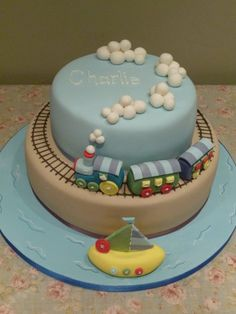 Wanna make a train cake for dads retirement :-) Cupcakes, Cupcake Cakes, Christening Cake Boy, Boys First Birthday Cake, Baby Shower Cakes For Boys, Sugar Cake, Novelty Cakes, Cakepops, Creative Cakes