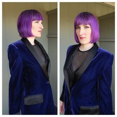 ESCADA Vintage 90s Midnight Blue Velvet and by CircusCatVintage