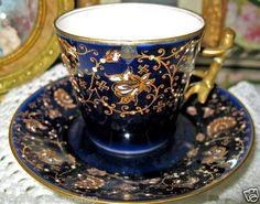 1890'S LIMOGES FRANCE COBALT JEWELED DEMI Victorianteacupshop tea cup and saucer