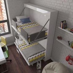 """Best Bunk Beds for Kids And Teens with Storage Design Ideas Awesome """"modern bunk beds for girls Cama Murphy, Murphy Bunk Beds, Girls Bunk Beds, Bed For Girls Room, Murphy Bed Ikea, Cool Bunk Beds, Murphy Bed Plans, Kid Beds, Kids Room"""