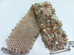 Blush Embellished Peyote Bracelet by BUNNY123 on Etsy, $130.00
