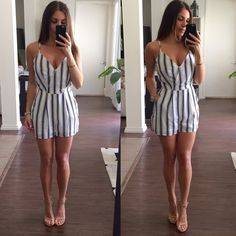 Navy Striped Jumpsuit Off white and navy striped jumpsuit. This jumpsuit has a dressier look, with zipper on the side and a button on the front that can also be worn open. I love the length of it, it's short without being too short. Brand new with tags Other