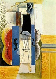 1913 Violon accroché au mur Pablo Picasso