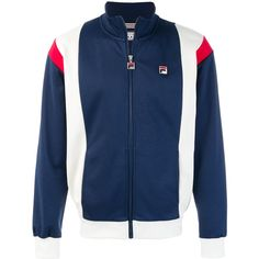 Fila embroidered logo jacket ($88) ❤ liked on Polyvore featuring men's fashion, men's clothing, men's outerwear, men's jackets, blue and mens blue jacket