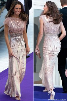 Kate Middleton in Jenny Packham pink sequin gown Looks Kate Middleton, Estilo Kate Middleton, Kate Middleton Dress, Princess Kate Middleton, Princess Diana, Duchess Kate, Duchess Of Cambridge, Nude Gown, Jenny Packham Dresses