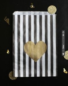 So awesome! - gold heart bags | CHECK OUT MORE GREAT BLACK AND WHITE WEDDING IDEAS AT WEDDINGPINS.NET | #weddings #wedding #blackandwhitewedding #blackandwhiteweddingphotos #events #forweddings #iloveweddings #blackandwhite #romance #vintage #blackwedding #planners #whitewedding #ceremonyphotos #weddingphotos #weddingpictures