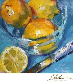 consider painting from above.Still life painting, Lemons on blue painting, oil painting on canvas panel Lemon Painting, Blue Painting, Painting Still Life, Oil Painting On Canvas, Painting & Drawing, Still Life Artists, Fruit Art, Painting Inspiration, Drawings