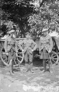 Second Lieutenant Stewart; Second Lieutenant L. A. Lynden-Bell; and Lieutenant R. W. Ross of the 1st Battalion, Seaforth Highlanders in the transport lines of the battalion, France.