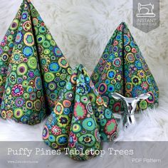 Diy Fabric Puffy Tabletop Christmas Trees Tutorial - Pdf Sewing Happy New Year Fabric Christmas Decorations, Fabric Christmas Ornaments, Cone Christmas Trees, Tabletop Christmas Tree, Christmas Tree Pattern, Christmas Sewing, Christmas Diy, Cone Trees, Christmas Quotes