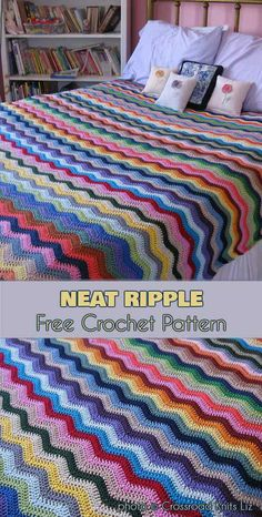 Neat Ripple Baby Blanket or Bedspread Free Crochet Pattern. This Neat Ripple Pattern will be perfect in any colour you choose. #freecrochetpatterns #crochetblanket #babyblanket
