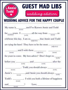 Modern Wedding Guest Book Wedding Mad Libs A by WeddingsByJamie, $15.00