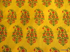 Paisley Block Print Soft Cotton Border Fabric in Yellow Color by Yard via Etsy