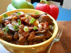 SLOW-COOKED MEDITERRANEAN EGGPLANT SALAD made with red onion, bell peppers, canned tomatoes, smoked paprika, cumin