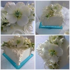 Christmas Rose and Star of Bethlehem Bouquet Square Cake - Cake by Blooming Sugar Art by Cukiart