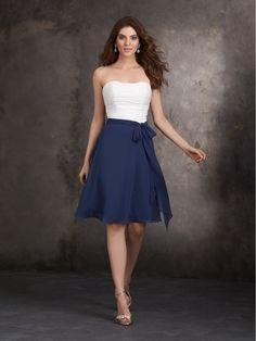 A-Line Blue White Short Chiffon Wedding Party Bridesmaid Dresses 1006042