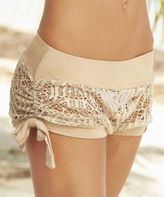 Mocha Crochet Cover-Up Shorts by AM PM
