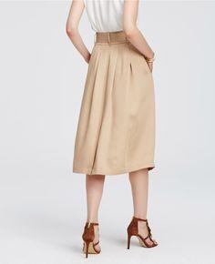 Belted Twill Midi Skirt