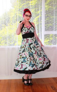Rockabilly Butterfly 'Pippa' Dress in a 1950s Halterneck Style with Black Trim - Custom made to fit