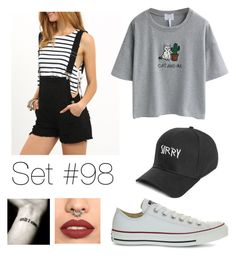 """No Name"" by emma-natalie ❤ liked on Polyvore featuring WithChic, Boohoo and Converse"